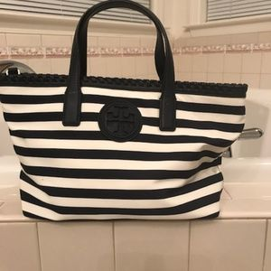 Tory Burch Marion Small Striped East-West Tote